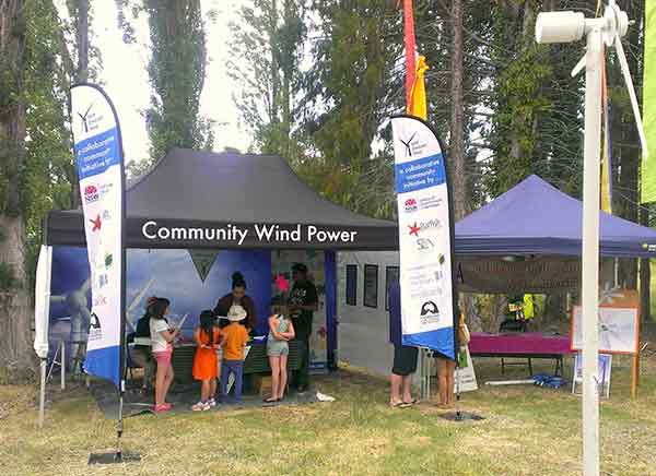 Volunteers on New England Wind's 'Community Wind Power' exhibit at the 2014 Black Gully Festival, Armidale.